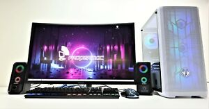 "Gaming PC Bundle i7 144 HZ 27"" Curved Monitor 16GB 240GB SSD 1 TB HDD RTX 3060Ti"