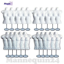 10 Female +10 Male + 20 Stands + 20 Hooks -Total 20 White Mannequin Torso Forms