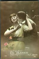 Lovers valentine courting couple postcard hand coloured antique Le Baiser