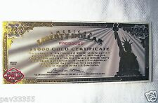 2006 American Liberty Dollar $1000 Gold Certificate - Specimen
