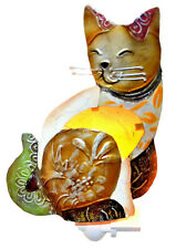 Metal Cat Light Ornament Gold Ornamental Seashell Statue Figurine Ornaments Lamp