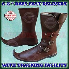 Medieval Leather Boots Brown Re-enactment Mens Shoe Xmas Role-Play Costume Boot