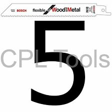 """5 Bosch S922HF Alternativo Sabre Hojas De Sierra 6"""" 150mm Madera + Metal Aleación Paletas"""