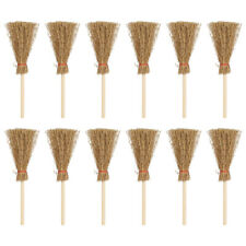 12 Pcs Mini Broom Lightweight Wizard Accessory Straw Brooms for Halloween Party