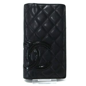 Auth CHANEL Cambon Line Black Lambskin Patent Leather Long Wallet