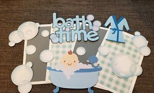 Bath time boy scrapbook page set photo mats and die cuts set #672