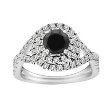 2 Carat Black AAA Round Diamond Solitaire Fancy Halo Ring Set 14K White Gold