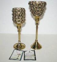 NEW SET OF 2 ASFOUR AMBER GOLD CRYSTAL,BRASS TONE METAL CANDLE,TEA LIGHT HOLDERS