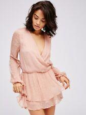 Free People Women's Blush Daliah Swiss Dot Mini Dress Size M $208