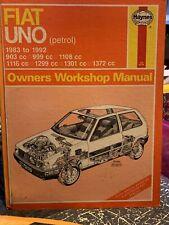 Fiat Uno (Petrol) 1983 To 1992 Haynes Owners Workshop Manual. Car. Repair. Fix.