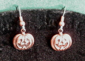 Jack-O-Lanterns Earrings Copper Small Halloween Pumpkin
