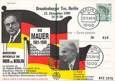 """PE207 FDC ALLEMAGNE """"Ouverture du MUR DE BERLIN / M. KOHL & M. MODROW"""" 1989"""