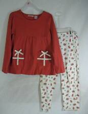 Girls Duck Head Jeans co Lg (6X) 2 piece Christmas Holiday pants set skirted top