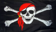 3' x 2' PIRATE FLAG RED BANDANA Skull and Crossbones Pirates Party