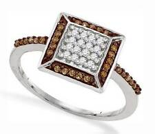10K White Gold Chocolate Brown & White Diamond Ring .25ct - Square Cluster Ring