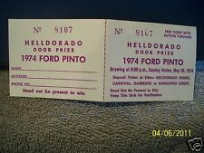Helldorado Celebration 1974 Pinto Door Prize Ticket