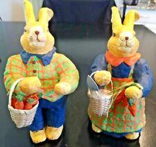 Vintage 1960s Era Paper Mache Easter Bunny Carrot Gathering Figures Pair Baskets
