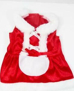 Small Dog Mrs. Claus Christmas Dress Red White Fur Trim Pet Dog Costume