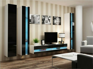 Seattle B4 - floating entertainment center for living room / modern tv wall unit