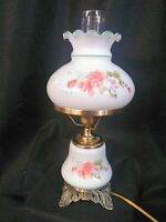 """VTG Gone With The Wind 3 - Way Parlor Hurricane Lamp Milk Glass Peach Floral 17"""""""