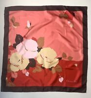 """Christian Dior Vintage Large Square Silk Scarf Floral Red Brown 30"""" X 30"""""""