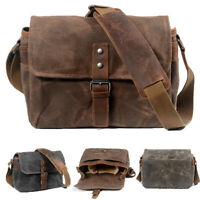 Vintage Waterproof Canvas Leather Trim DSLR SLR Shockproof Camera Messenger Bag