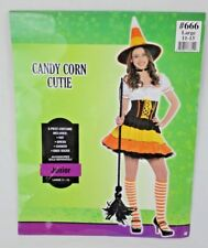 Candy Corn Ladies Womens Cutie Juniors Halloween Costume Party Size Large 11-13