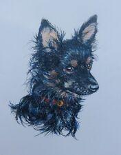 "Akimova: DOG, original drawing, portrait, colored pencils, 10.5""x13.5"""
