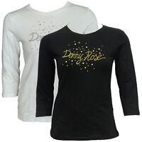 T-shirt Maglia Maniche Lunghe Girocollo Crew Neck DENNY ROSE Donna Woman Nero Bl