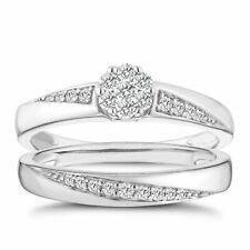 Ernest Jones 9 Carat White Gold 0.30 Carat Diamond 2 Ring Bridal Set Sz K 4g