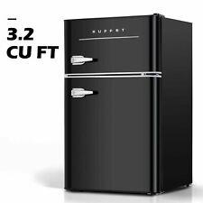 3.2 Cu.Ft Retro Mini Fridge 2-Door Compact Small Refrigerator Home Office Black