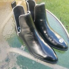 EUC Zara Trafaluc Flat Ankle Boots with Studs, Black Leather, Sz 41