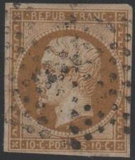 "FRANCE  N° 9 a "" LOUIS-NAPOLEON 10c  BISTRE-BRUN 1852 "" OBLITERE TB J782"