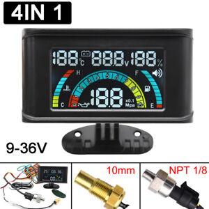Car LCD Digital 4 in 1 Gauge Water Temperature+Oil Pressure+Fuel+Voltage Gauge
