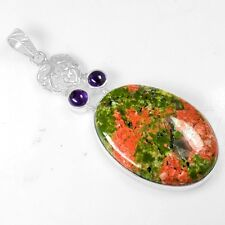 12.85 Gram 925 Sterling Silver Natural 100% Pure Unakite Amethyst Pendant Jewelr