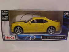 2010 Chevy Camaro SS RS Coupe Die-cast Car 1:24 Yellow by Maisto 7.5 inch