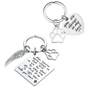 2pcs Pet Memorial Keyring Dog Cat Memorial Gifts Set with Velvet Pouch Souvenir