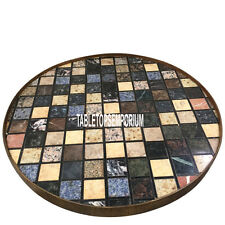 24'' Black Marble Top Center Table Pietra Dura Cubes Arts Inlay Furniture Decor
