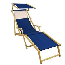 Lit Soleil Bleu Transat pour Jardin Hêtre Chaise Longue Toit Ouvrant Coussin