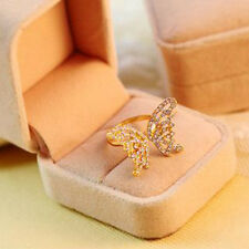 Graceful  Womens 9K Rose Gold Filled with AAA CZ Hollow Butterfly Shape Ring