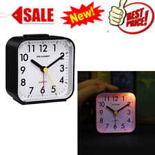 Peakeep Small Battery Operated Analog Travel Alarm Clock Silent No Ticking,