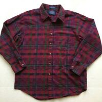 Pendleton Shirt Wool Cotton Burgundy Plaid Men's Large Long Sleeve Made in USA