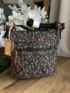 New Fat Face Dotty Floral Small Canvas Crossbody Shoulder Bag
