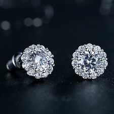 18K Solid White Gold Round CZ Stud Earrings sizes Top Quality For Fashion Women
