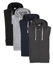 Mens Sleeveless Cotton Rich Hooded Sweatshirt Sweat Hoody Hoodie