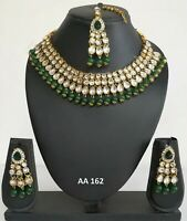Indian Fashion Kundan Jewelry Wedding Bridal Pearl CZ Necklace Earrings Sets 162