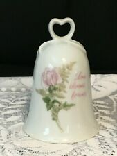 """Genuine Porcelain Bell """"Love Blooms Forever"""" American Greeting 4.5"""" Tall"""