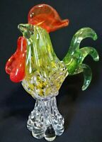Vtg MURANO Vibrant Multi-Colorful Speckled Art Glass Rooster Sculpture Figure