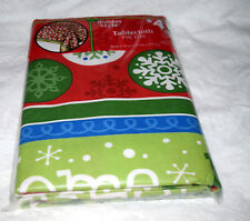 "Multicolor Snowflakes Christmas Tablecloth 52 x 70"" 100% Polyester NWT"