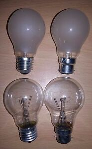 40w 60w 75w 100w 150w 200w Clear/Frosted GLS Light Bulbs BC ES Push/Screw In